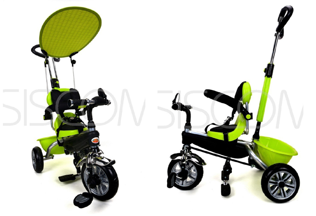 Dětská tříkolka kočárek 2v1 PARTY BRIKE green