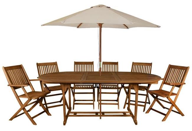 Zahradní sestava 6 židlí a stolu z akácie XXL