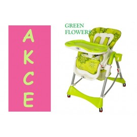 Dětská jídelní židlička skládací PREMIUM KIDS PLAY green flowers