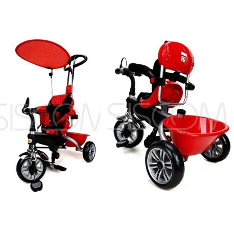 Dětská tříkolka kočárek 2v1 PARTY BRIKE red