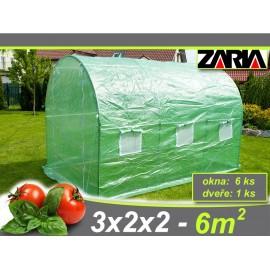 Zahradní tunelový fóliovník ZARIA plus okna 2x3m 6m2 AKCE