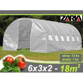 Zahradní tunelový fóliovník ZARIA plus okna 6x3m 18 m2 AKCE