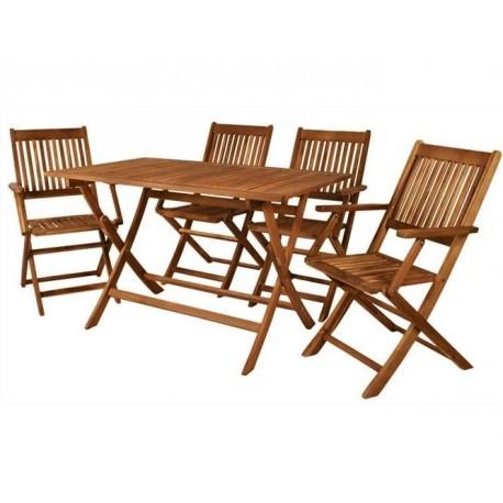 Zahradní sestava 4 židlí a stolu z akácie