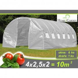 Zahradní tunelový fóliovník ZARIA plus okna 2,5 x 4m 10m2 AKCE